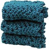 3 Teal Blue Green Crochet Round Dishcloth Set Long Lasting 100% Cotton