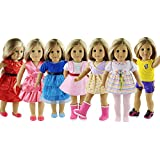 ZWSISU 7 Outfits American Girl Doll Clothes Fits American Girl Doll, Our Generation, Journey Girls Dolls by
