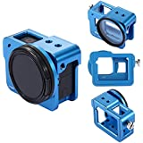 PULUZ Housing Shell Case CNC Aluminum Alloy Protective Cage with Insurance Frame & 52mm UV Lens for GoPro New Hero (2018) HERO 6 5 (Blue)