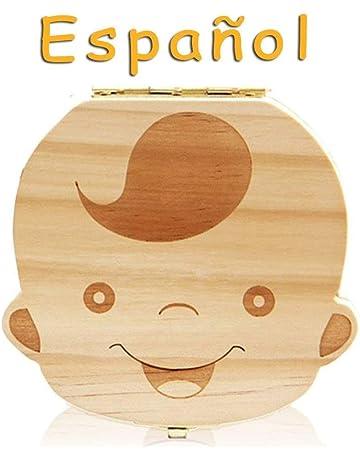Lomire Cajita De Dientes De Leche En Español Niña, Caja De Almacenamiento De Madera Para