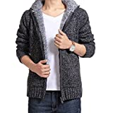 E-Shine Men's Fur Lining Thicken Casual Knitted Zip Cardigan Sweater Hooded Jacket