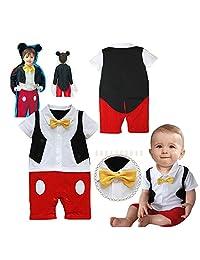 Baby Boy 3D Bowtie Photo Prop Romper Onesie Toddler Boy Cartoon Jumpsuit