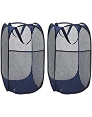 VIPITH Laundry Hamper, Large 60 Liters Pop-Up Laundry Hamper, Foldable Mesh Hamper with Carry Handles for Clothes and Toys Storage (Blue), Pack of 2