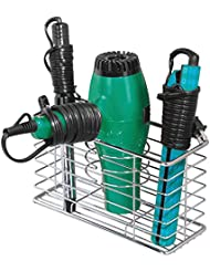 mDesign Bathroom Wall Mount Hair Care & Styling Tool Organizer Storage Basket for Hair Dryer, Flat Iron, Curling Wand, Hair Straighteners, Brushes – Durable Steel Wire in Chrome Finish