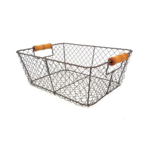 Black Storage Basket Medium Size Wire Mesh Metal Crate Vintage Chic  Industrial Style Kitchen Utensils Caddy