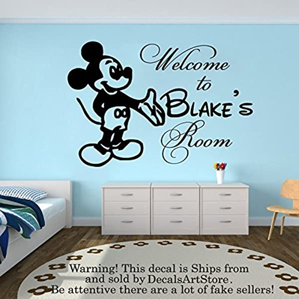 Amazon Com Wall Decal Personalized Custom Name Decals Welcom To Mickey Mouse Vinyl Sticker Home Decor Nursery Boy Baby Room Kids Stickers Children S Decor Art Mural Sm84 Kitchen Dining