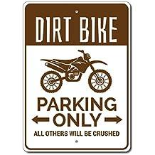 "Dirt Bike Parking Sign, Dirt Bike Sign, Dirt Bike Gift for Dirt Biker Sign, Dirt Bike Decor, Dirt Biking Sign - Quality Aluminum - 10""x14"" Quality Aluminum Sign"