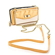 Venice Collection Women's Wallet Clutch Carrying Case for BLU Studio 5.0 LTE / Neo 4.5 / Studio 5.0 S II / Studio 5.0 E / Life Pure Mini / Vivo 4.8 HD / Life Play S / Life One X / Life One M / Life Play X / Life Pure (Gold & White)