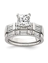 IceCarats® Designer Jewelry Sterling Silver Cz 2 Piece Wedding Set Ring