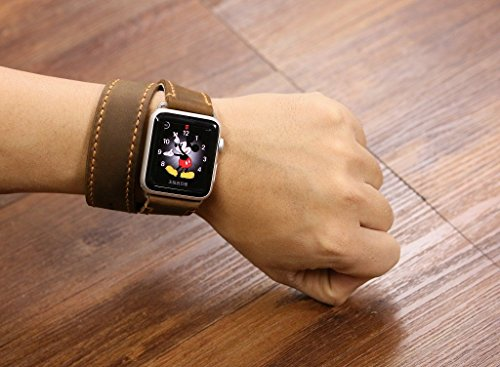 Hand stitch vintage retro distressed leather Apple Double Wrap Watch Band 38mm 42mm / Leather bracelet long apple watch strap AW005L