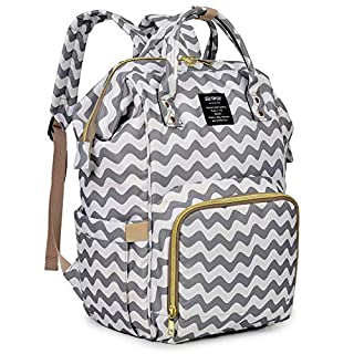 Qimiaobaby Diaper Bag Backpack, baby Nappy storage travel bag (Gray ripple)