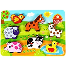 "Fun Barnyard Farm Animals Chunky Wooden Puzzle for Toddlers, Preschool Age w/ ""Easy-Hold"" Colorful Solid Wood Pieces. Simple Educational & Sensory Learning for 1, 2 & 3 Year Olds"