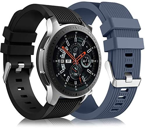 [2 Pack] Lerobo Band Compatible for Samsung Galaxy Watch 3 45mm/Galaxy Watch 46mm Bands/Gear S3 Frontier, 22mm Smart Watch Band Silicone Casual Straps Accessories for Women Men Black/Blue Gray