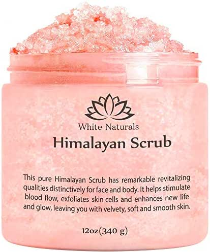 One Day Sale! Pure Himalayan Pink Salt Body Scrub Wash With Exfoliate For Soft, Healthy Skin, Massaging For Sore Muscles & Skin Imperfection 12 oz