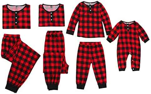 Mumetaz Mommy and Me Christmas Plaid Color Block Family Pajamas Set  Sleepwear Matching Clothes 59af8e4e7