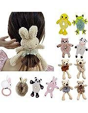 Cute Small Elastic Hair Bands for Women's Hair,Bear Bunny Frog Duck Plush Hair Ties for Girls Teenagers Children Kids