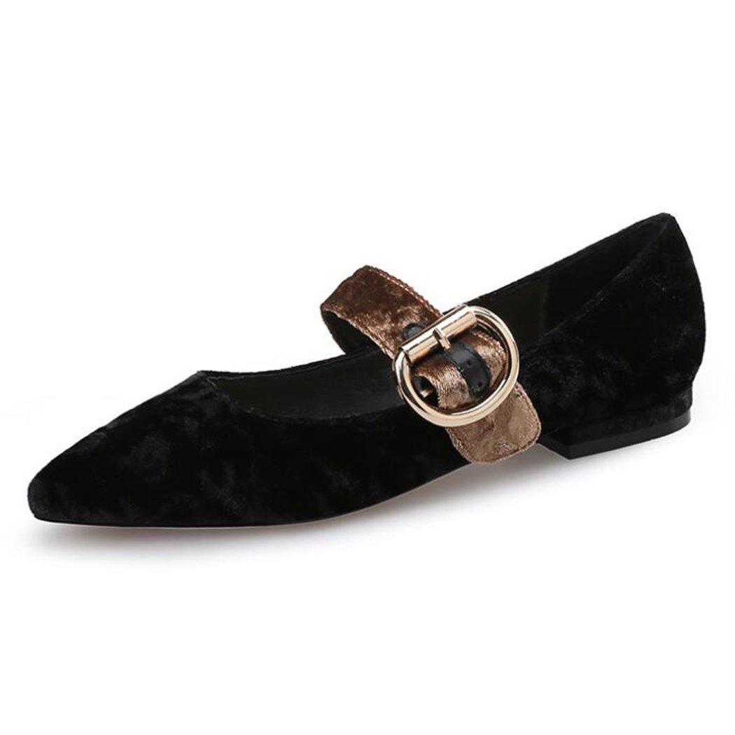 Sandalias de las mujeres Tela del paño grueso y suave Zapatos de Mary Jane Correa cruzada del tobillo de las mujeres Correas cruzadas del talón grueso Sandalias medias ( Color : Negro , tamaño : 38 ) 38|Negro