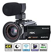 #LightningDeal 83% claimed: Video Camera Camcorder 4K kicteck Ultra HD Digital Camera 48.0MP 3.0 Inch Touch Screen Night Vision 16X Digital Zoom Recorder with External Microphone and Wide Angle Lens,2 Battteries(4KMW)