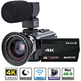 Video Camera Camcorder 4K kicteck Ultra HD Digital Camera 48.0MP 3.0 inch Touch Screen Night Vision 16X Digital Zoom Recorder with External Microphone and Wide Angle Lens,2 Battteries(4KMW)