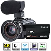 Video Camera Camcorder 4K kicteck Ultra HD Digital WiFi...
