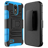 LG Stylo 3 Case, SGM Hybrid Dual Layer Combo Armor Defender Protective Case With Kickstand + Belt Clip Holster For LG Stylo 3 (Blue)