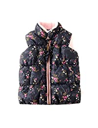 SNOW DREAMS Baby Girls Fleece Vest Floral Printed Padded Puffer Sleeveless Jackets