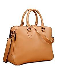 Yaluxe Women's Double Zipper Genuine Leather Organizer Handbag Cross Body Shoulder Bag