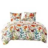 LOVE(TM)Lightweight Ultra Soft Brushed Microfiber Duvet Cover Set, Colorful Floral Print Pattern, White Multi-Color-King Size
