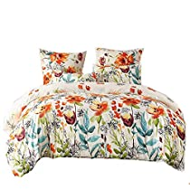 LOVE(TM) Lightweight Ultra Soft Brushed Microfiber Duvet Cover Set,Colorful Floral Print Pattern, White Multi-Color