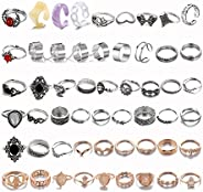 82PCS Knuckle Ring Set for Women Teen Girls, Boho Vintage Stackable Midi Rings Gold Silver Joint Finger Rings