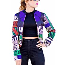Women's Bomber Pattern Print Track Jacket Hip Hop Style Casual Baseball Jacket