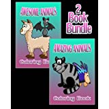 Awesome Animals & Amazing Animals - Coloring Book (2 Book Bundle)