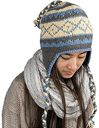 Warm Winter Soft Wool Hat Fleeced Lined Cap Hand Knit Women Ear Flaps Merino
