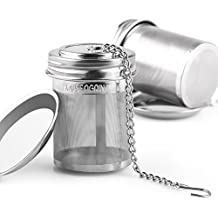 2 Pack Tea Infuser by House Again, Extra Fine Mesh Tea Ball Threaded Connection 18/8 Stainless Steel with Extended Chain Hook for Hanging on Teapots Mugs Cups to Brew Loose Leaf Tea