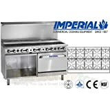 Imperial Commercial Restaurant Range 60 With 10 Step Up Burner Oven/Cabinet Propane Ir-10-Su-Xb