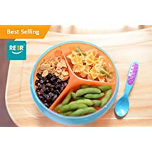 ReeR Section Divided Plate Dish Stay Put Bowl with Twisty Suction Base for Infant Toddler and 6 Months Solid Feeding- Spill Proof-Inside Scoop Stackable To Go Snacks & Storage-With Bonus Spoon