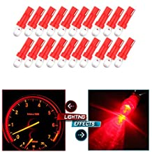 CCIYU 20 pcs T5 37 74 Wedge SMD Led Bulbs Instrument Cluster Light Panel Gauge Lamp Red