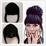 Clip In Hair Bangs Human Hair,Silmei Real Natural Looking Hand-tied Clip In Fringe Bangs Black 6inches Hair Piece Side Bangs Extensions High lights for Women Girls