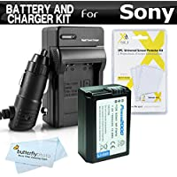 Replacement NP-FW50 Battery And Charger Kit For Sony Alpha a6000, a6500, a6300, a5100, a3000, Alpha a7 a7K Interchangeable Lens Camera and Sony QX1 Smartphone Attachable Compact System + Ac/Dc Charger