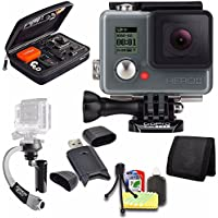 GoPro HERO+ LCD + Steadicam Curve for GoPro HERO Action Cameras (Silver) + Case for GoPro HERO4 and GoPro Accessories + 6pc Starter Kit Bundle