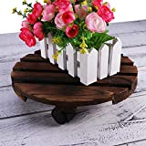 Vosarea Wooden Movable Potted Plant Round Flower