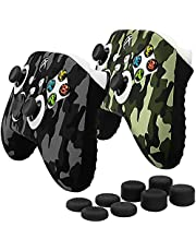 Fosmon Non-Slip Skin Protective Case Cover Compatible with Xbox Series X/S Controller (2 Pack - Camo Black/Green), Sweat Proof Silicone Rubber Gel Skin with 8 Thumb Grips Analog Cap