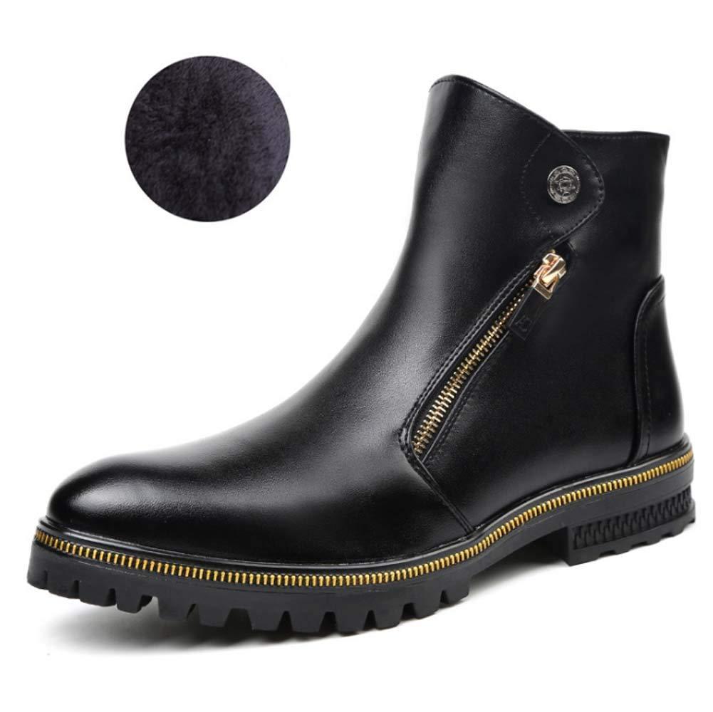 Herren Martin Ankle Stiefel, Winter Warm Leder Executive Zip Stiefel Komfortable High Top Ankle Schuhe Work Cowboy Biker Stiefel Schuhe