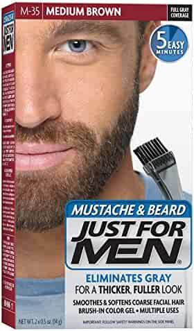 JUST FOR MEN Color Gel Mustache & Beard M-35 Medium Brown 1 ea (Pack of 3)