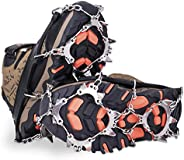 SPGOOD Ice Cleats Crampons 1 Pair for Boots Shoes Women Men Kids 19 Stainless Spikes Traction Cleats Fishing Hiking Walking