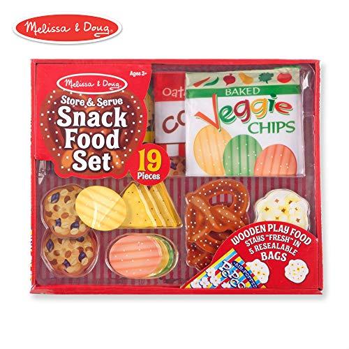 - Melissa & Doug Store & Serve Snack Food Set Play