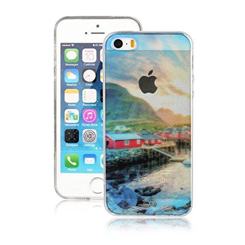 Für Apple iPhone 5 5G 5S / iPhone SE (4 Zoll) Hülle ZeWoo® TPU Schutzhülle Silikon Tasche Case Cover - AK013 / Dorf