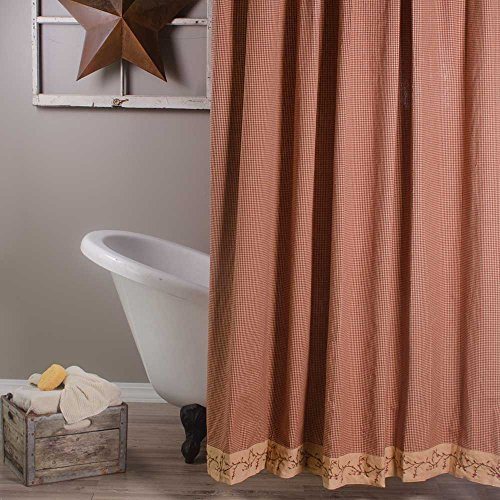 Primitive Home Decors Berry Vine Gingham Shower Curtain - Barn Red