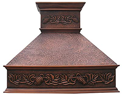 Copper Oven Hood with Grape Pattern Elegant Design Comes with Stainless Steel 304 Liner and Internal Motor Fan Hand Hammered Antique Coppery Patina
