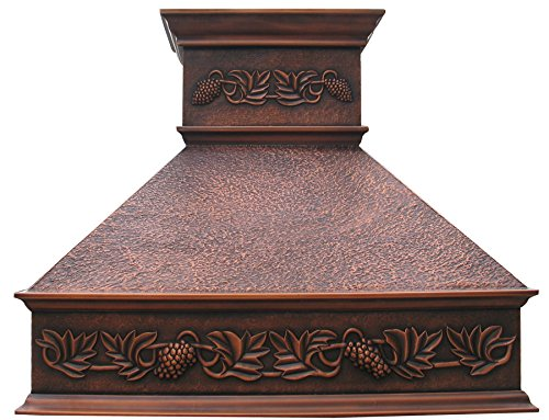 (Copper Stove Hood with Grape Pattern Elegant Design Comes with Stainless Steel 304 Liner and Internal Motor Fan Hand Hammered Antique Coppery Patina Ceiling Mount SINDA H10HOA)